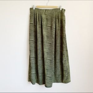 green reptile print high waisted midi skirt